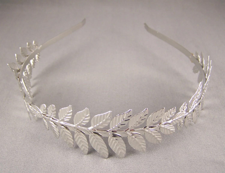 Silver Laurel Crown Leaf Leaves Shiny Metal Thin Skinny