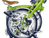 Brompton - Bicycle Print - Bike print - bicycle painting