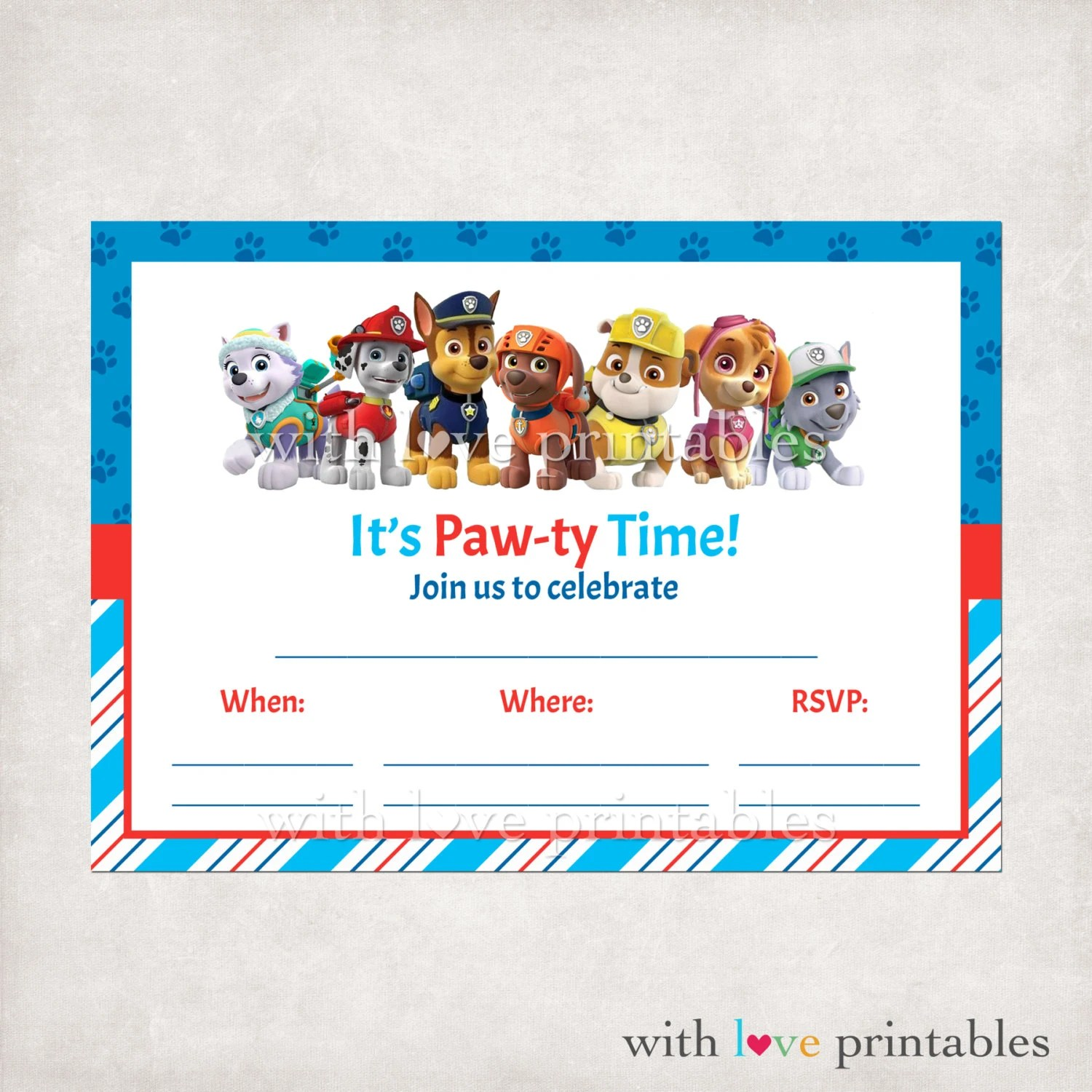 Printable Paw Patrol Fill In Blank Birthday By Withloveprintables