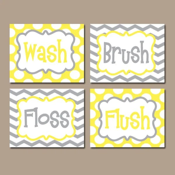 yellow gray bathroom rules wall art canvas or prints boy