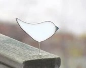 Winter White Stained Glass Bird Suncatcher Chick Ornament Woodland Decor
