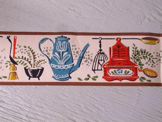 Vintage Kitchen Shelf Trim Wallpaper Border 1940s Trimz