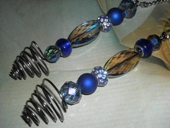 Beaded Ceiling Fan/Light Pull Set Blueberry Swirls Blue
