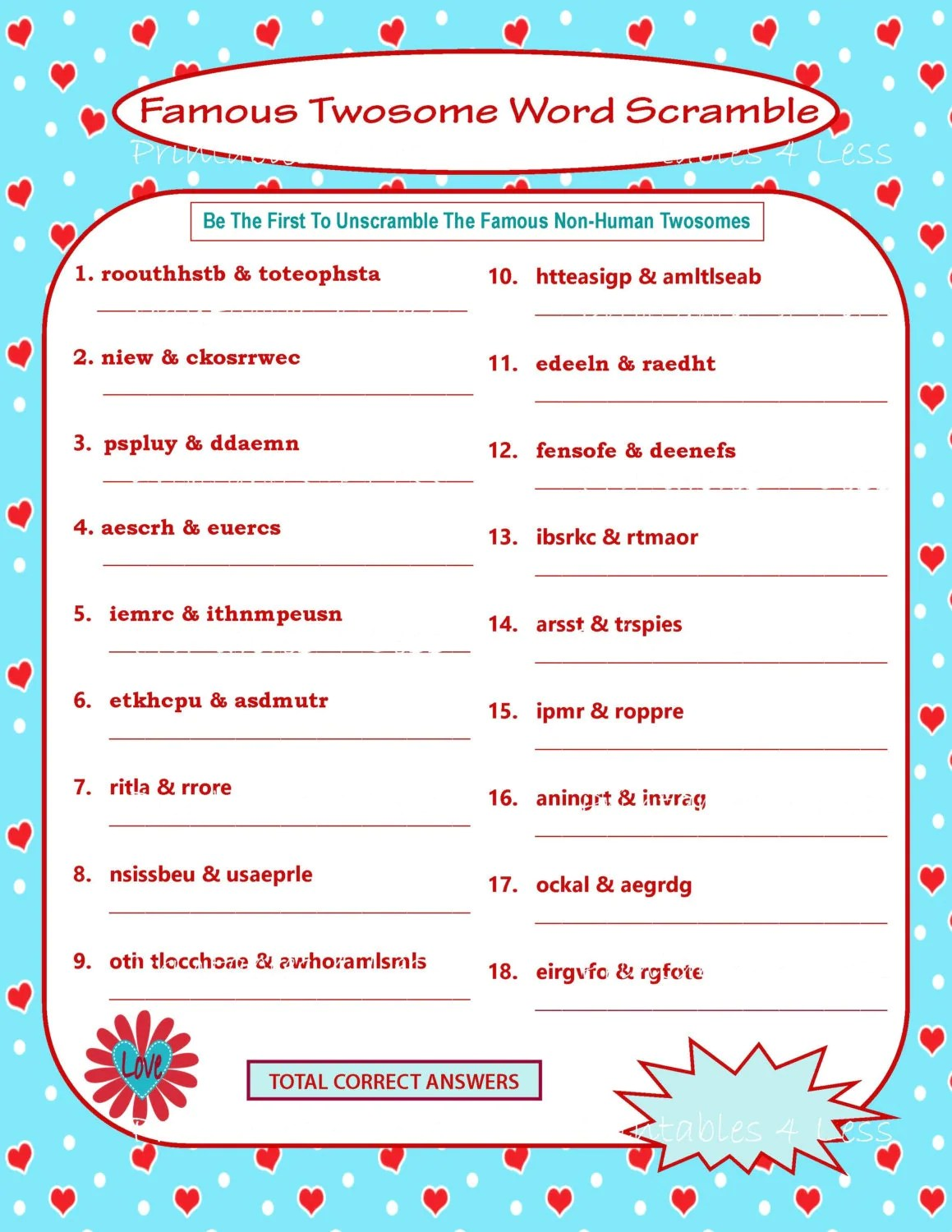 Printable Valentine Game Diy Printable Word Scramble Fun
