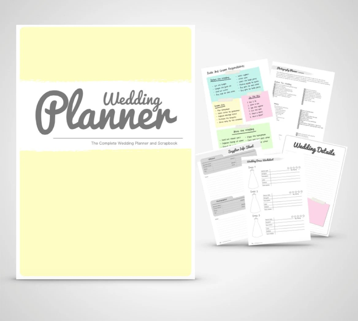 Wedding Planner Binder Printable Yellow And By Weddingtoolzstore