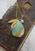Jewelry, pendant, large amazonite stone, gold plated brass leaves and chain ...  turquoise blue, brown .. TAGT  USD 55
