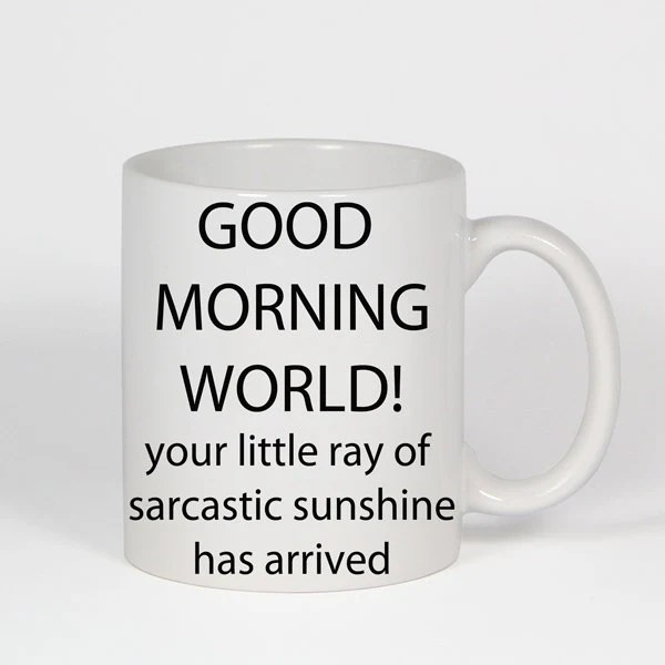 Items similar to Funny Coffee Mugs Good Morning World Your ...