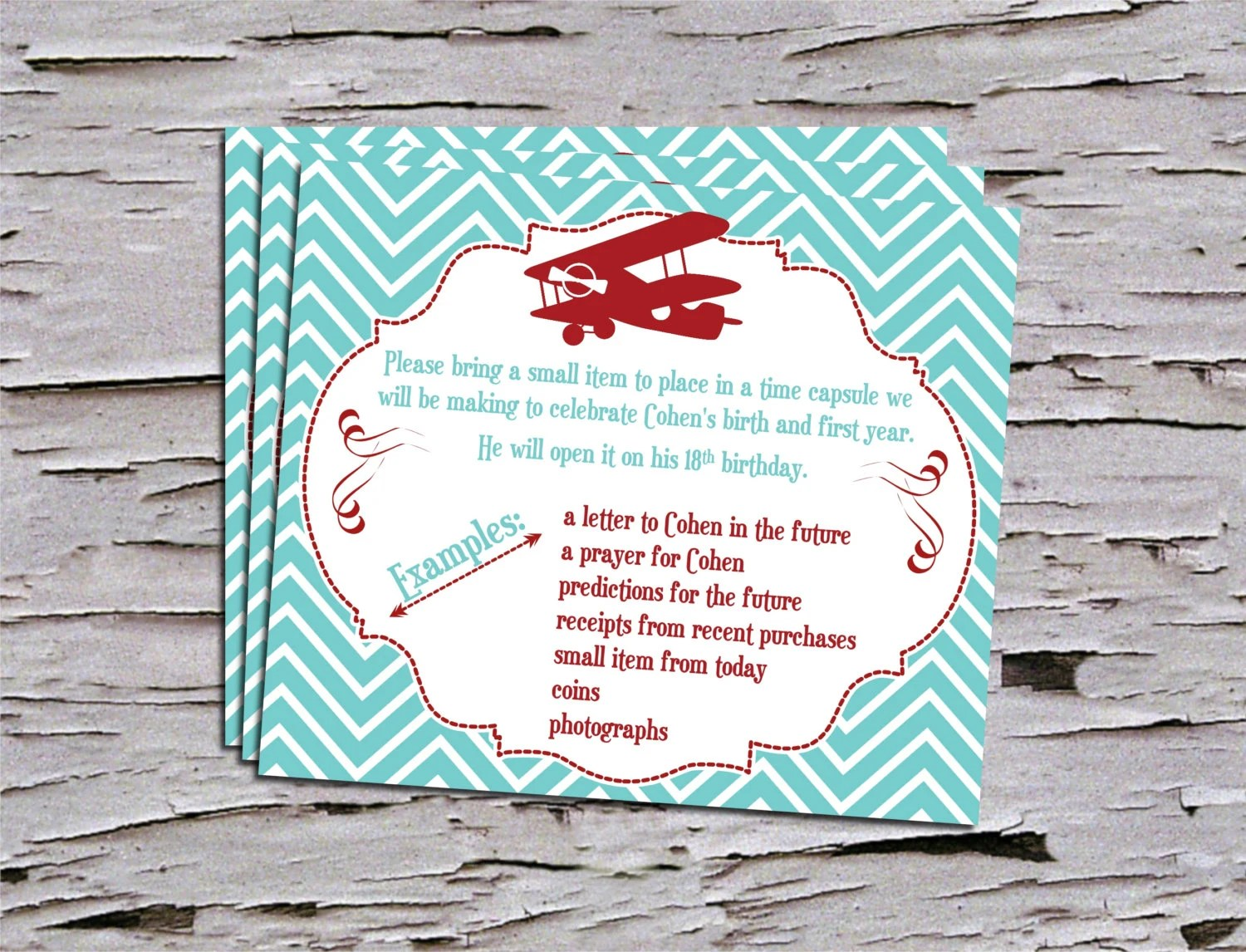 Vintage First Birthday Time Capsule Insert For Invitation