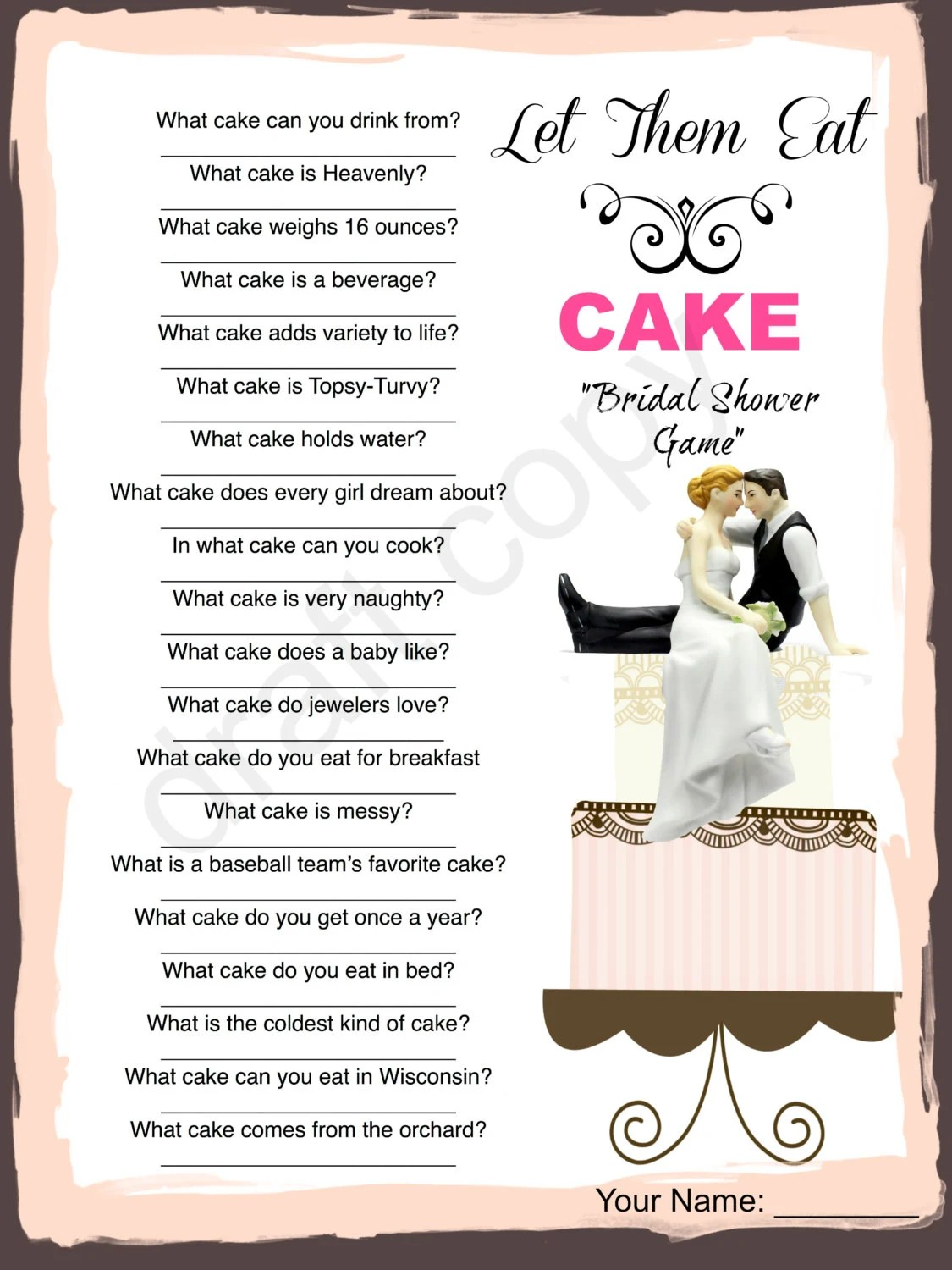 Bridal shower game cake trivia instant download, quiz without answers