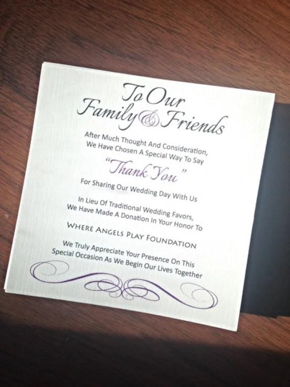 Wedding Favor Donation Card In Lieu Of Favors