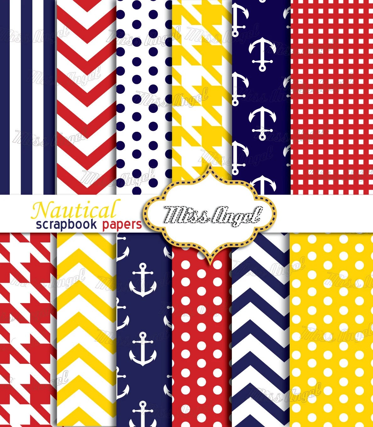 Nautical Scrapbook Papers Yellow Red Navy Digital Sheets Pack