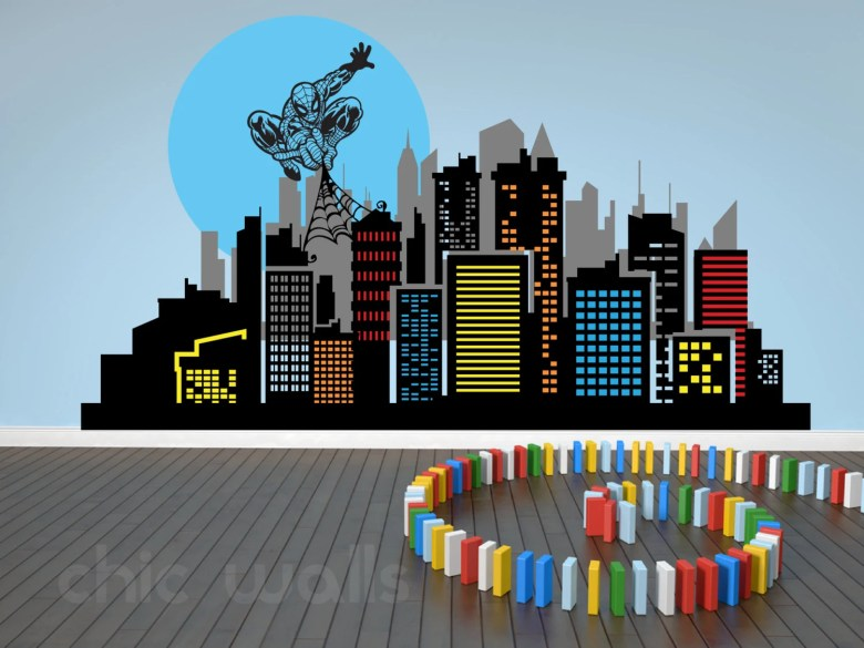 Custom Made Spiderman City Skyline Decal by ChicWallsDesign