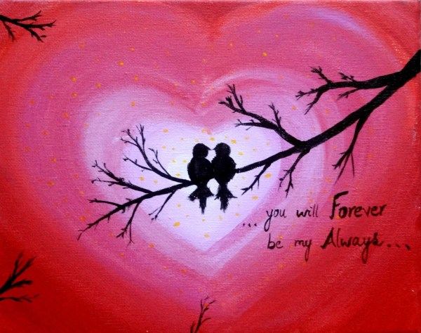 Love birds Acrylic painting canvas art Heart sign Forever and