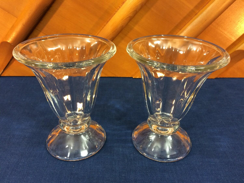 vintage libbey clear sundae ice cream glasses tulip shape haute juice. Black Bedroom Furniture Sets. Home Design Ideas