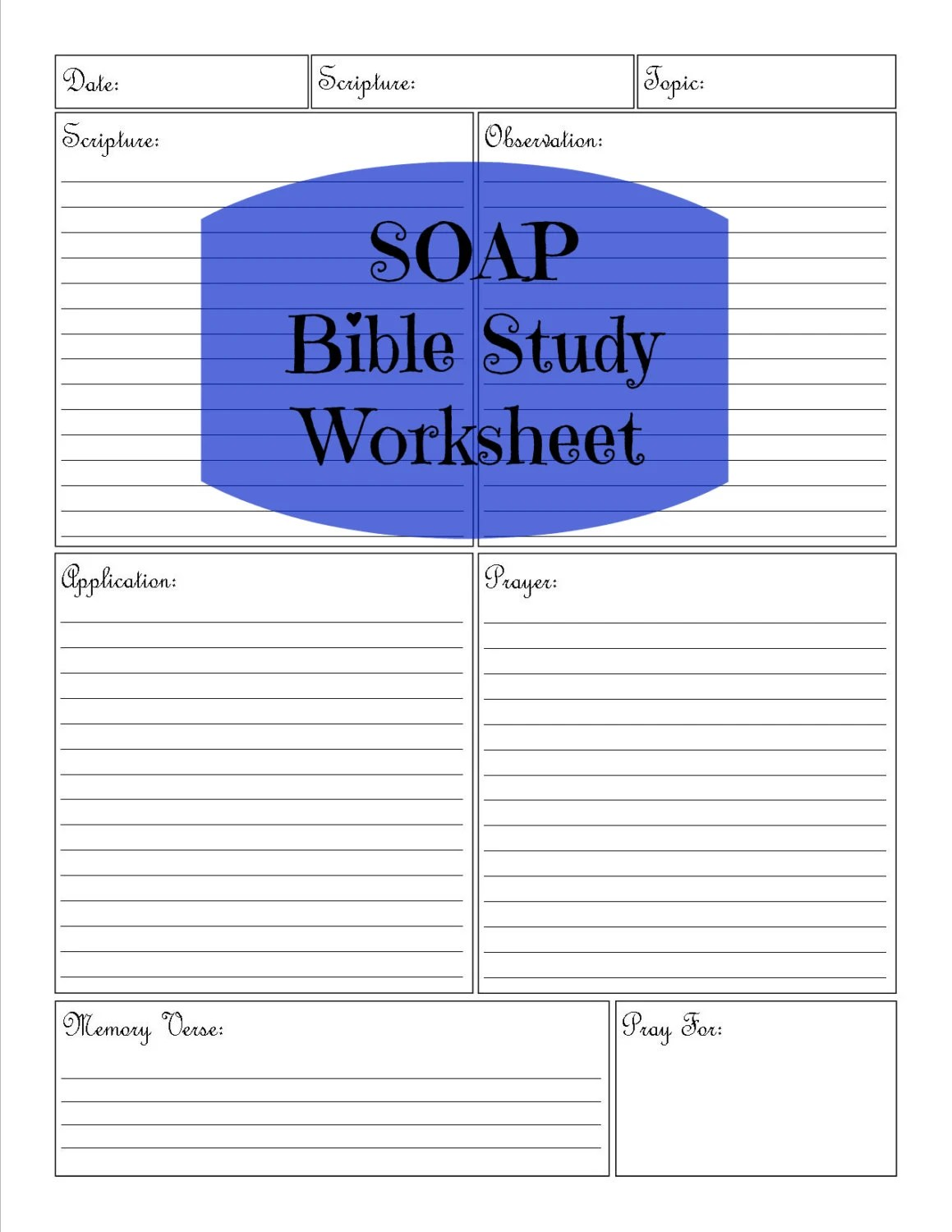 Soap Bible Study Worksheet