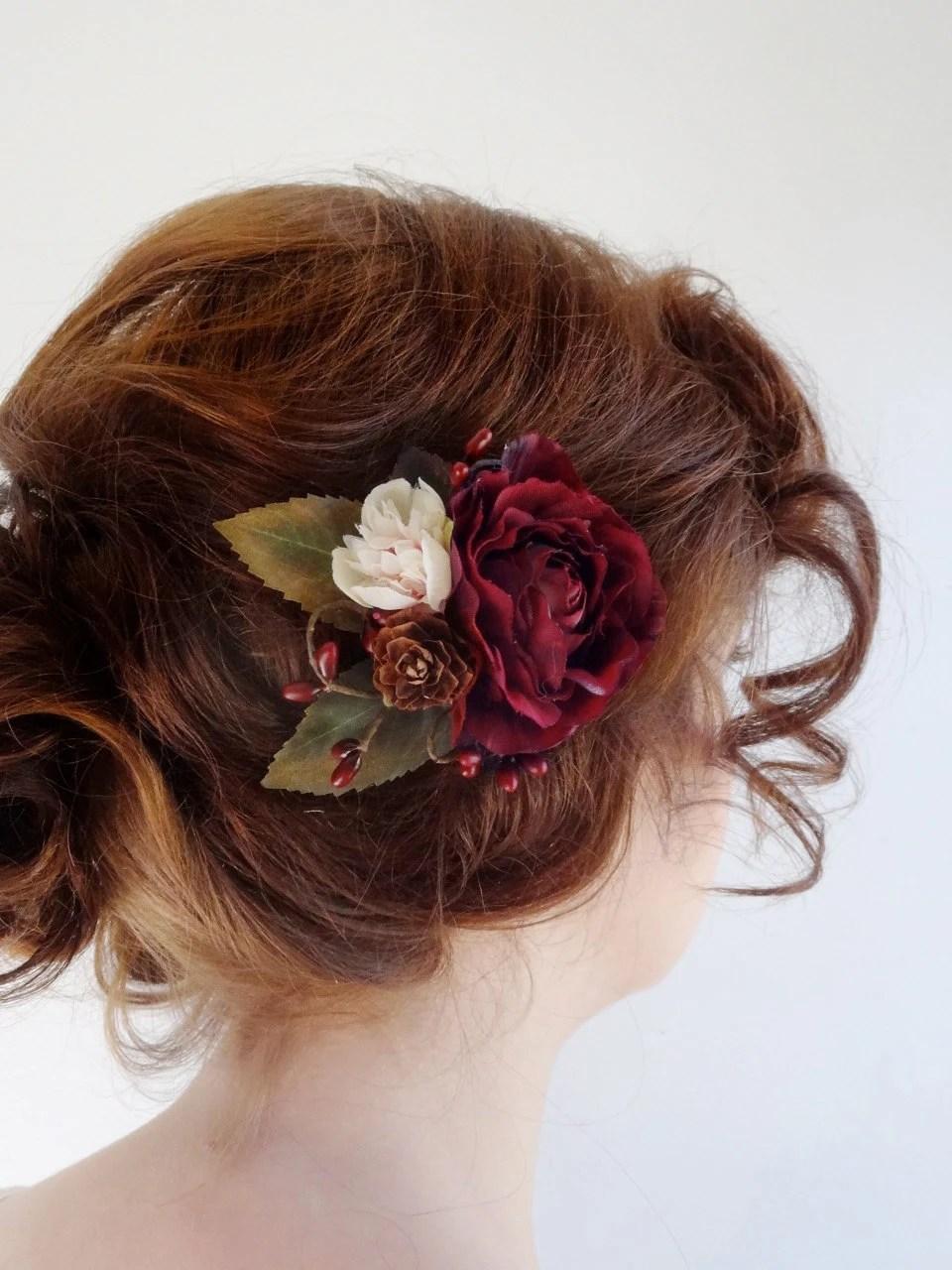 Burgundy Hair Accessory Bridal Hair Clip Burgundy Flower