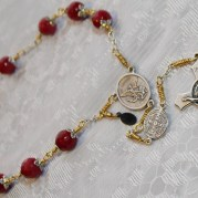 MIlitary Police Mens Ruby gemstone Chaplet St Michael and St Benedict Exorcism Medal   Rosary