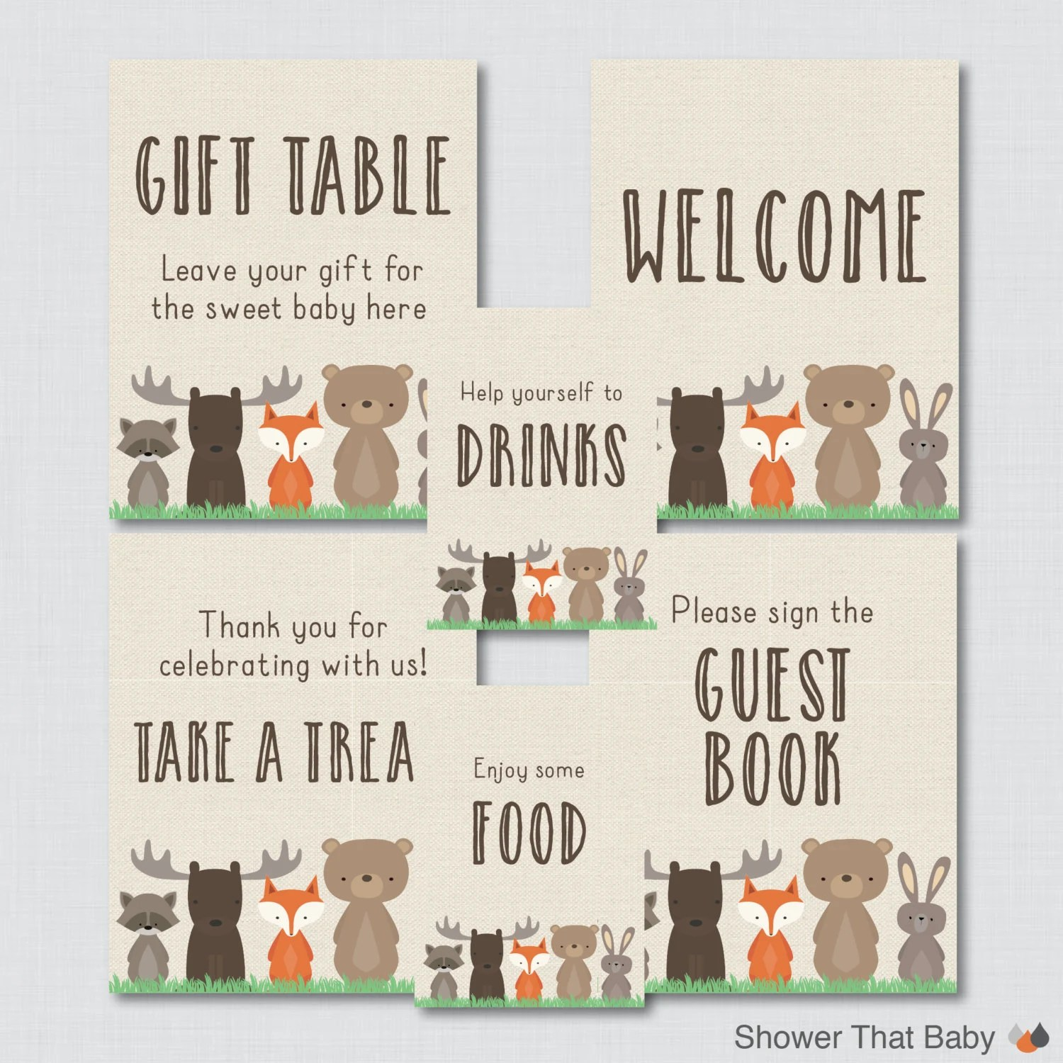 Printable Woodland Baby Shower Table Signs Six Signs