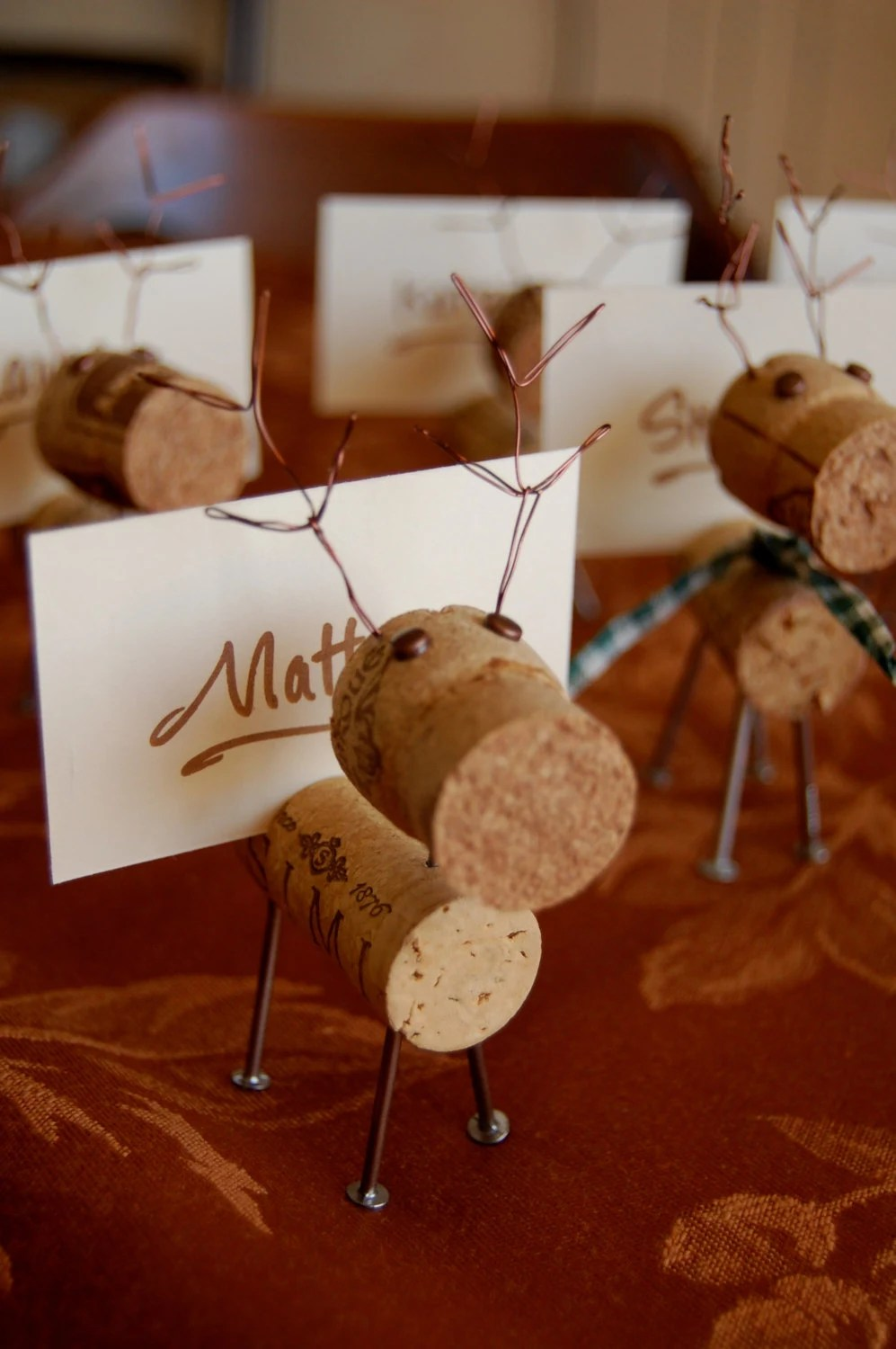 Items Similar To Rustic Cork Reindeer Place Card Holders