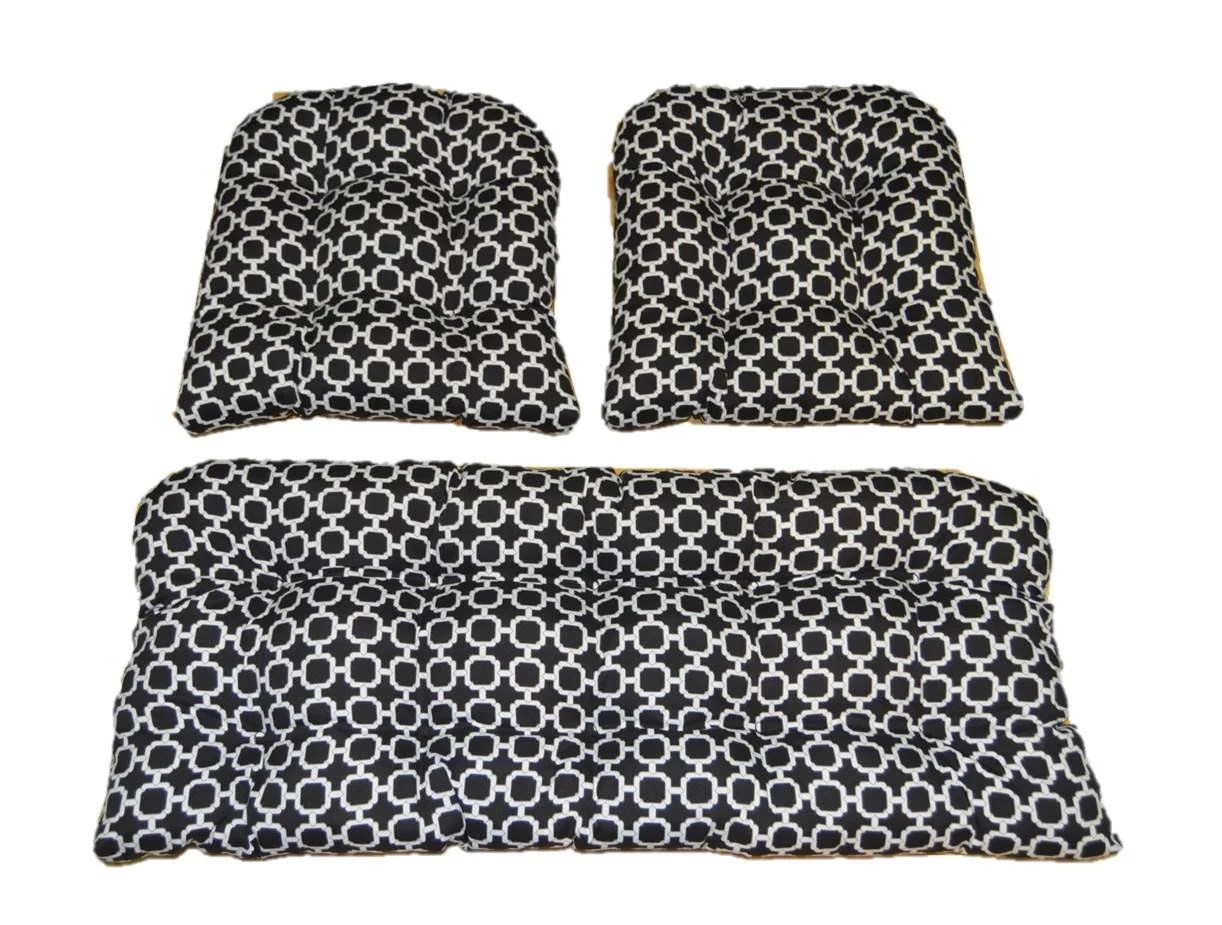 Black And White Geometric Hockley Print Cushions For Wicker