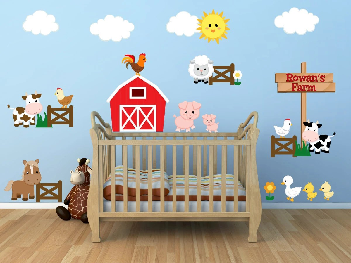 Kids Room Wall Decals Farm Wall Decals Farm Animal Decals on Room Decor Stickers id=62251
