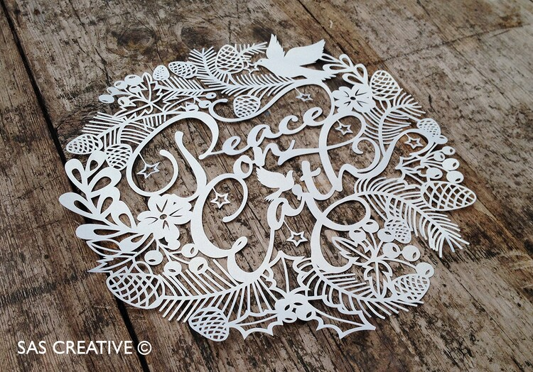 Christmas Papercut Template Peace On Earth PDF By