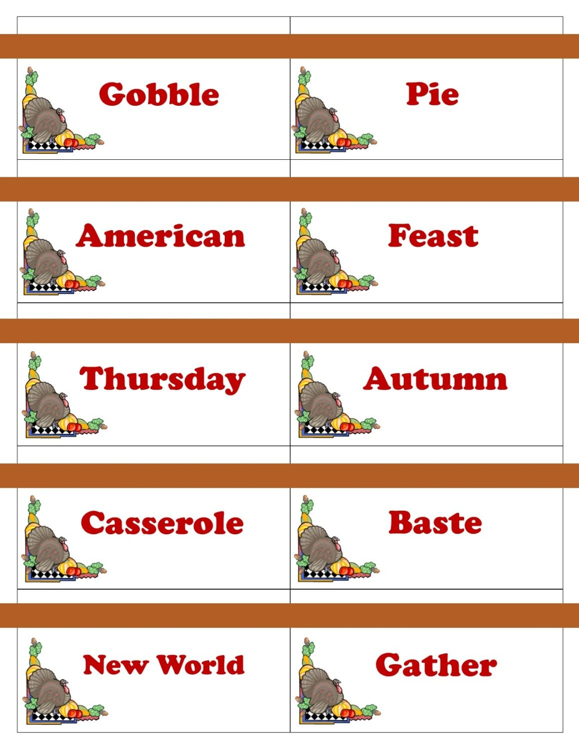 Thanksgiving Printable Cartes De Jeu De Pictionary Charades