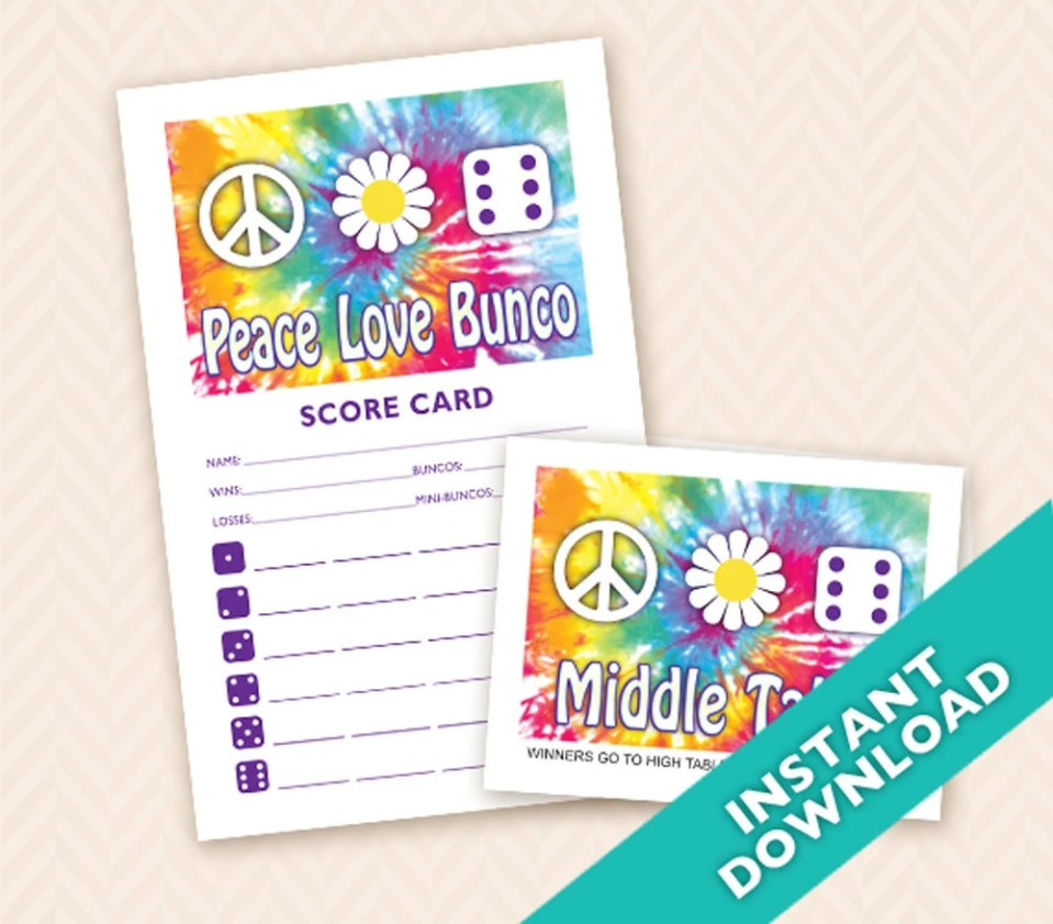 Printable 60s theme Bunco...
