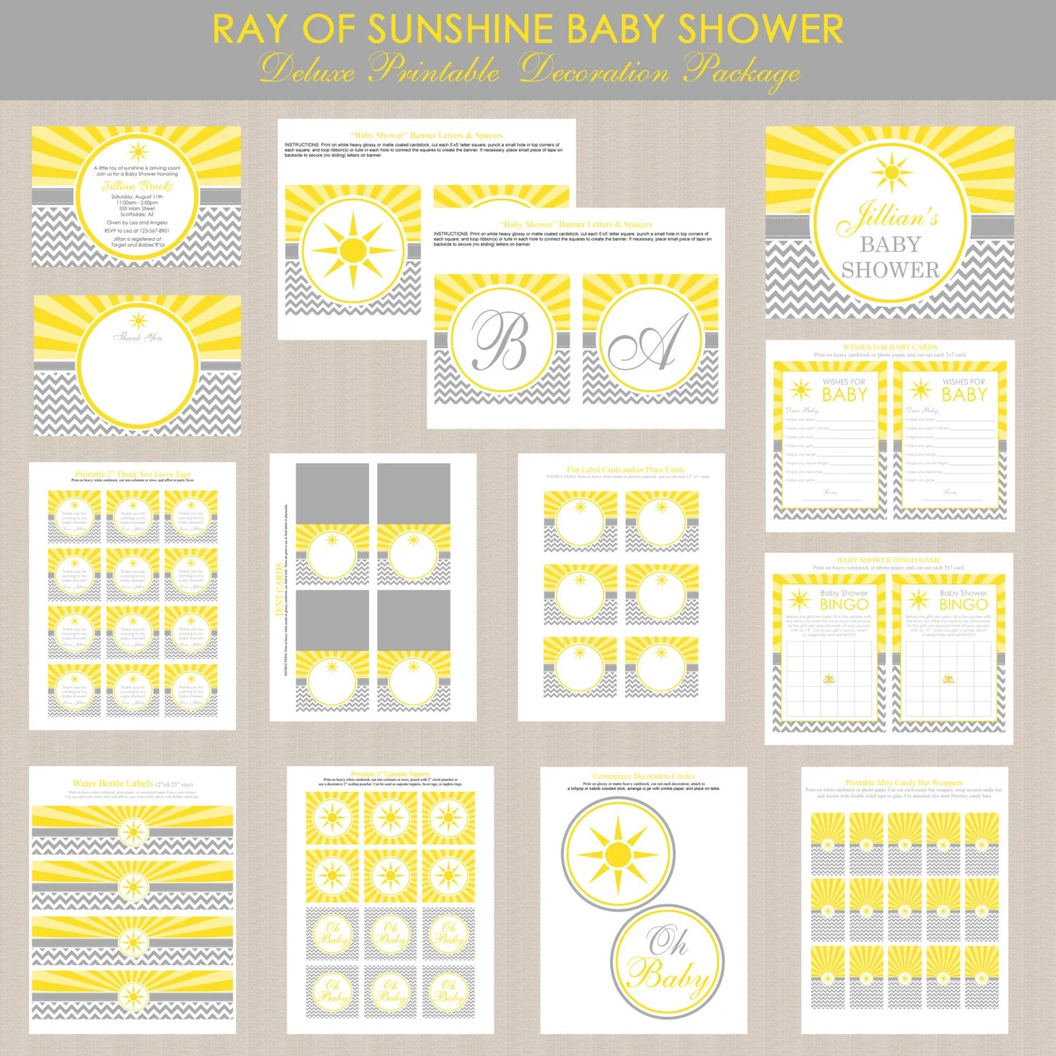 Ray Of Sunshine Baby Shower Printables Package Sunshine Baby