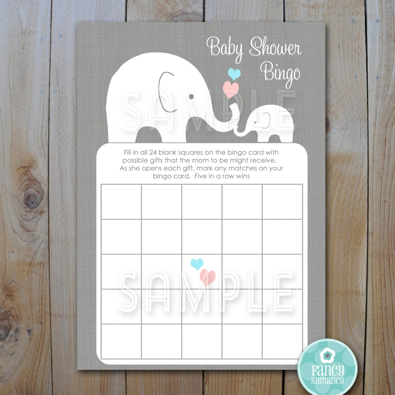 Elephant Baby Shower Bingo Game Cards By Fancyshmancynotes