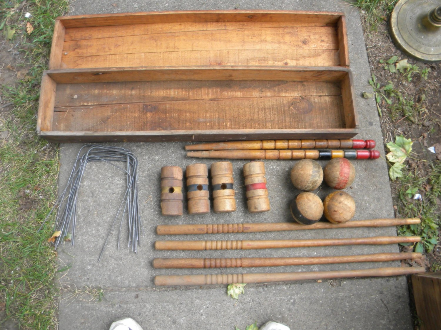 ANTIQUE Vintage 1920s Or So CROQUET SET Lawn Game In By