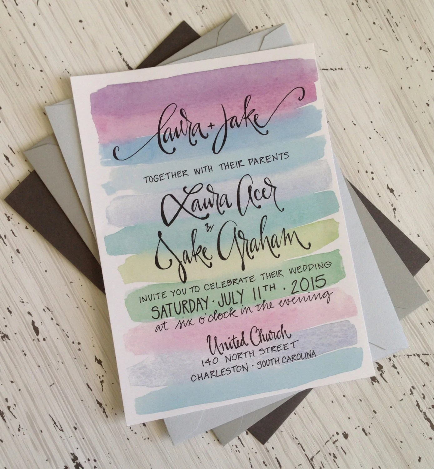 Calligraphy wedding invitation onepaperheart