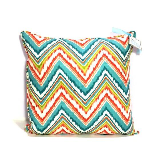 "Decorative PIllow Cover – Aqua, White, Teal, Blue and Orange Zig Zag IKat - 20"" Pillow Case -  Cushion Cover- Toss Pillows - Pillow Case"