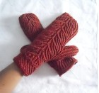 Woman's Marsala Fleece Lined Driving Mittens Teen Marsala Lined Mittens Lightweight Warm Mittens Hand Knit Spiral Pattern