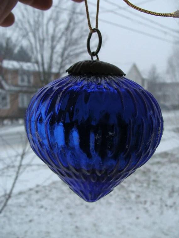 Antique German Kugel Cobalt Blue Mercury Glass Christmas