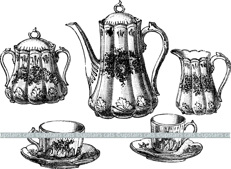 Vintage Teaset Antique Teapot And Teacups Set Clipart Graphic