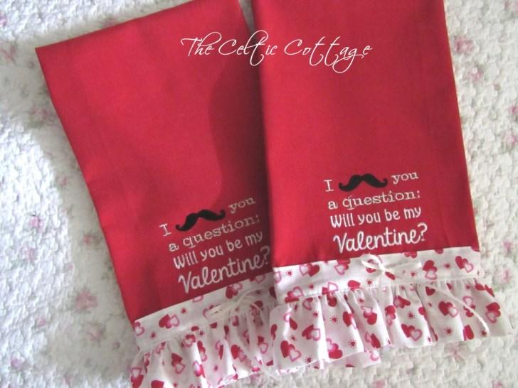 Valentine Kitchen Towels Funny Mustashe Thecelticcottage