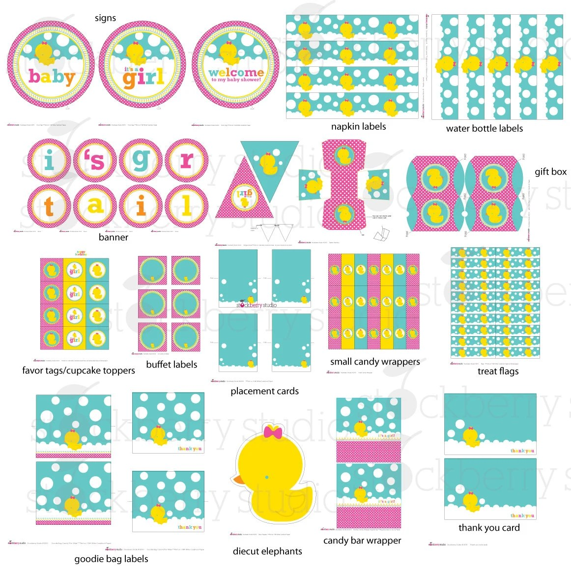 Girl Rubber Ducky Baby Shower Printable Party Kit Instant
