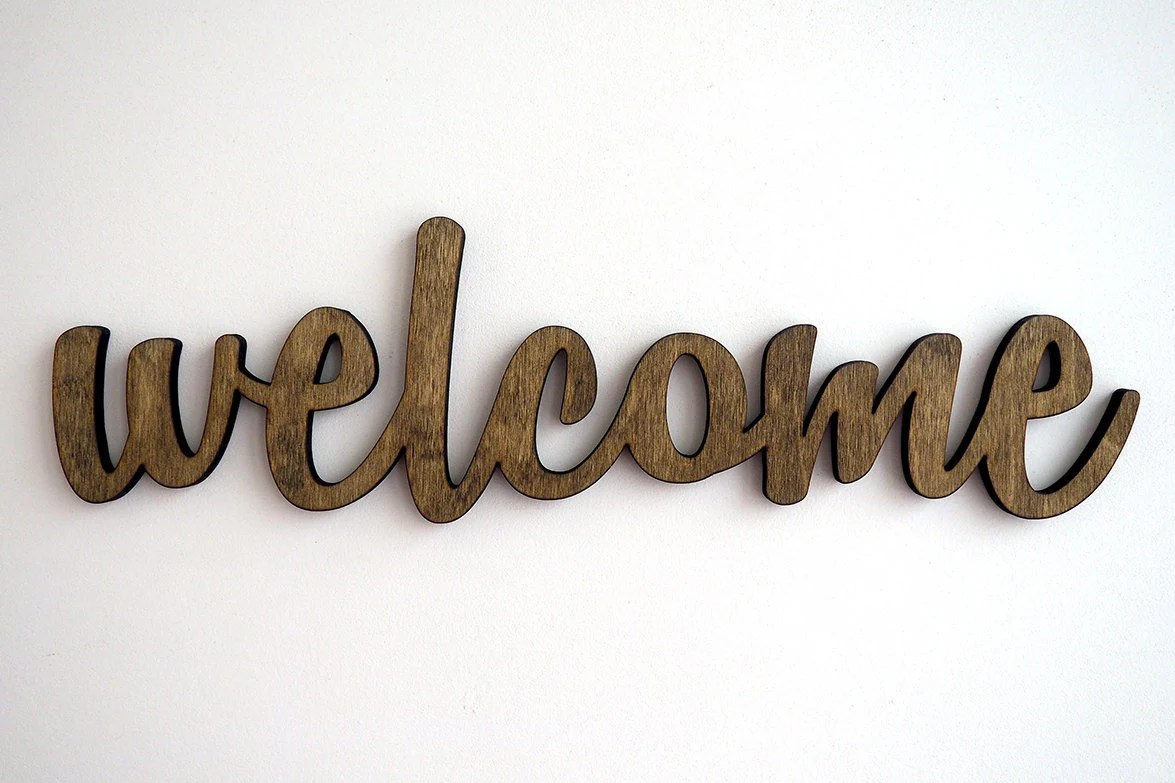 welcome wood sign wall art home decor entrance door on Home Wall Decor Signs id=56369