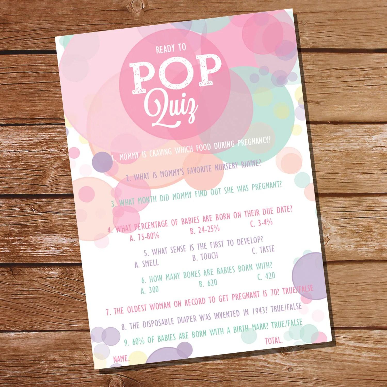 Ready To Pop Baby Shower Pop Quiz Baby Shower Game Girl