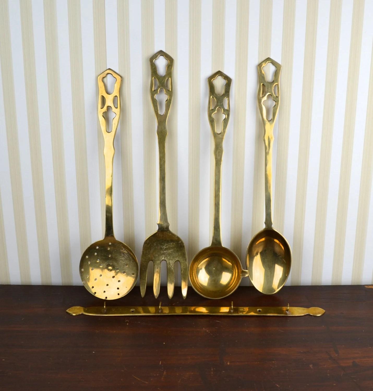 Brass Kitchen Wall Decor : Vintage set of brass kitchen utensils haute juice