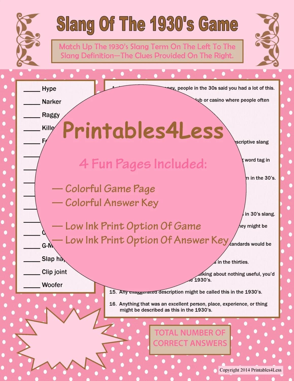S Slang Game S Games S Theme Printable Trivia
