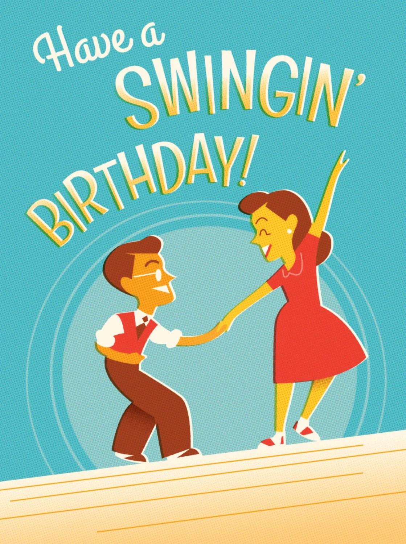 Retro Leeren Geburtstagskarte Fr Swing Dance Liebhaber