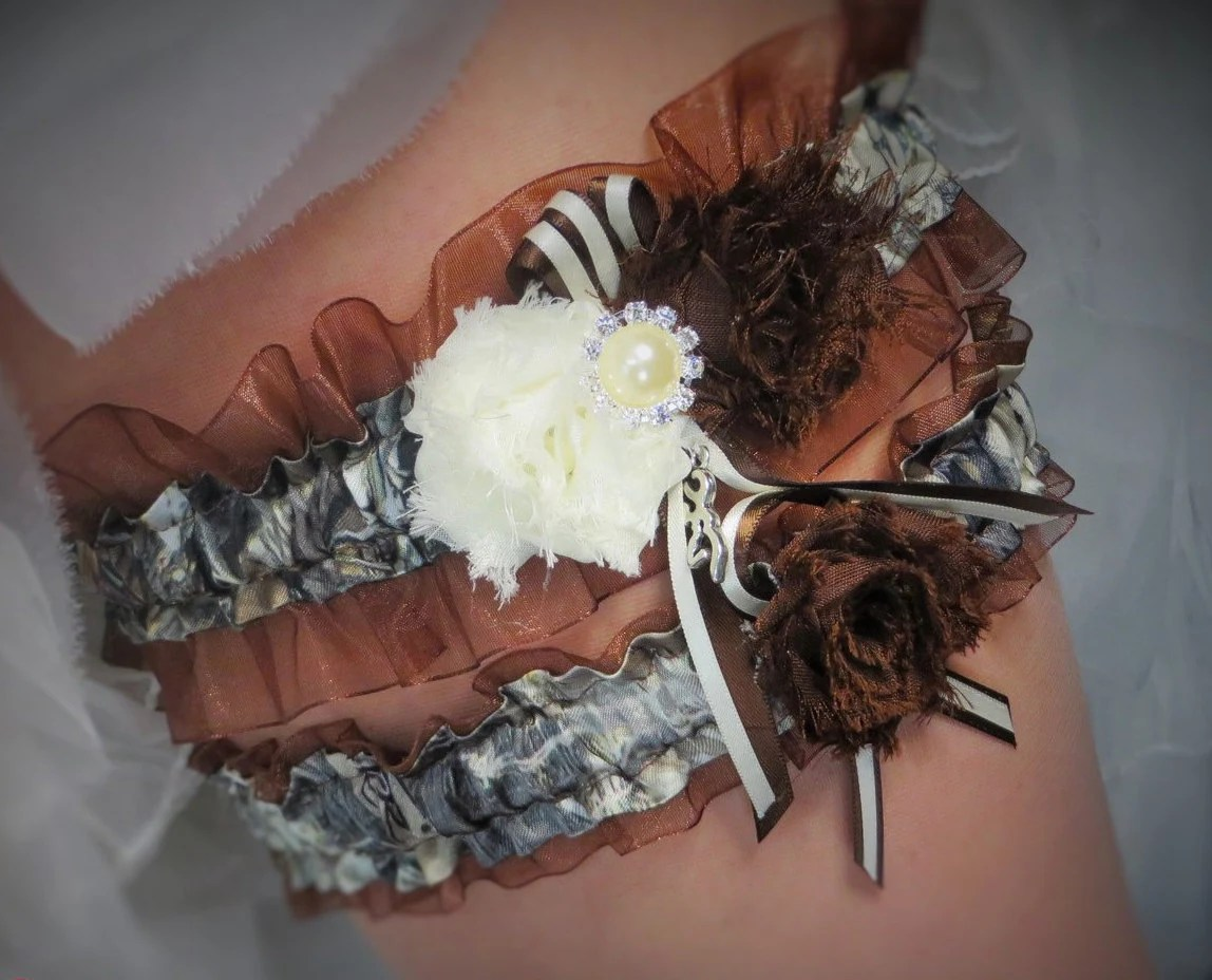 Brown Garter Set True Timber Camo Bridal Garter Rustic