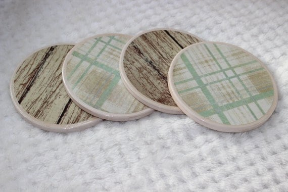 Items similar to High Gloss Ceramic Coasters, Weathered ...