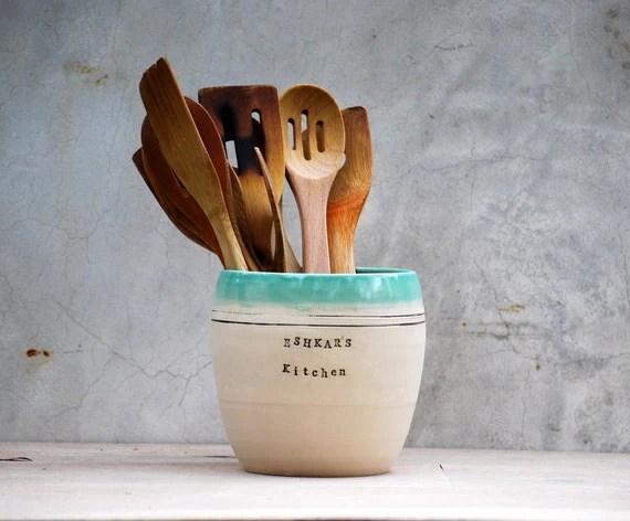 personalized  utensil holder  stoneware pottery