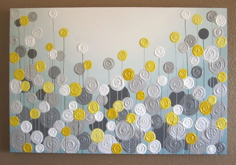 Yellow Gray And Aqua Blue Wall Art Textured Painting