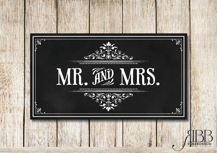 Items Similar To Instant Download Mr And Mrs Wedding Sign