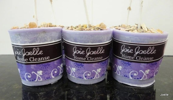 Home Cleanse purple Votive Spell Aromatherapy Candle for protection, exocrism, power, remove negativity, banishing, potency
