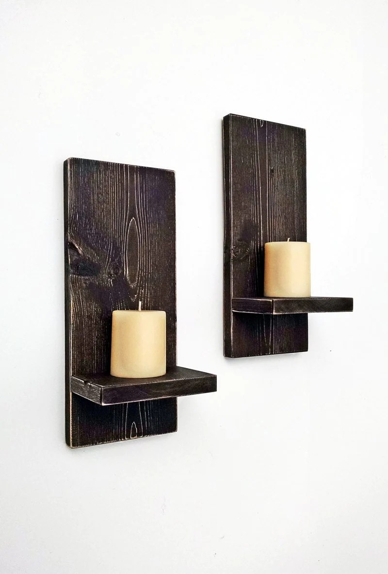 Rustic Wall Sconces pair Wood Wall Candle by BlueRidgeSawdust on Rustic Wall Sconces id=48093